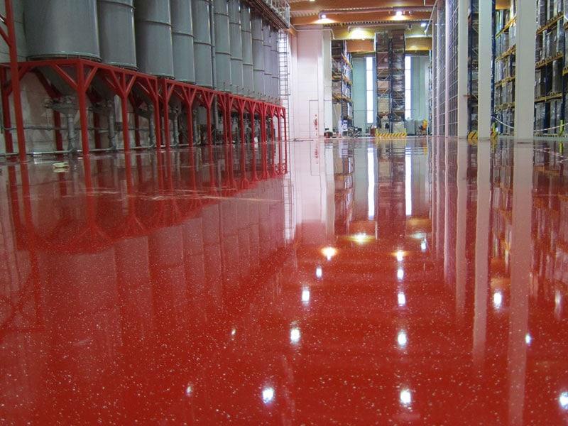 epoxyvloer rood fabriek